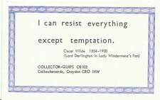 Quips Postcard - I Can Resist Everything Except Temptation   U776