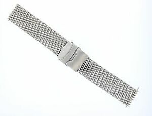 18MM-20MM,22MM,24MM SHARK MESH 4MM THICK S/ST WATCH BAND BRACELET FOR BREITLING