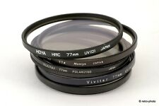 Five 77mm filters (Polarizer, Haze, Skylight, UV), B+W/Hoya/Mamiya/Vivitar, nice