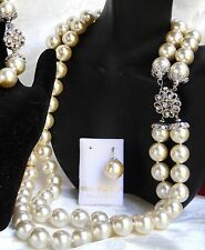 WEDDING SALE DOUBLE STRAND WHITE MAJORCA/MALLORCA PEARL NECKLACE faux majorica