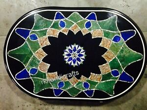 18 x 30 Inches Marble Patio Table Top Inlay Coffee Table with Geometrical Design