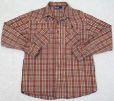 Ralph Lauren Polo Large Dress Shirt Button Up Cotton Striped Brown White Orange
