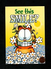 Garfield Cat Kitten Daisies Smile - By Jim Davis - Thank You Greeting Card New