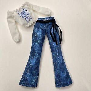 Barbie Fashion Avenue Glitter Denim Blue Jeans Peasant Blouse 55516 2002 Mattel