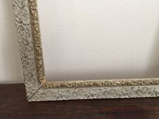 Antique Gesso Gray Grey Silver Gold Gilt Ornate Frame