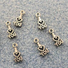 "Silver Alloy Metal Tiny ""I Love You"" Charms 24 Pieces  5.8mm x 12mm #0426"