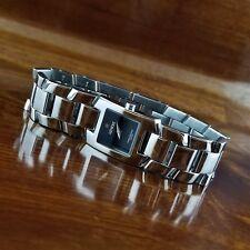 Womens Geneve Swiss Rectangle All Stainless Steel Bracelet Watch 100' WR