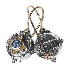 Gerochristo 1035 ~ Solid Gold, Sterling Silver & Zircon Medieval Drop Earrings