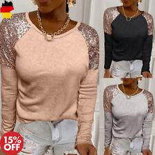 Damen Tops Pailletten Langarm T-Shirt Mode Bluse Freizeit Oberteile Winter Shirt