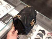 Michael Kors Peyton Medium Quilted Leather MD Shoulder Flap Bag BLACK/GOLD