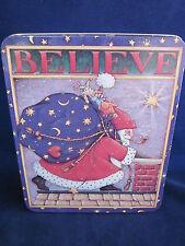 Mary Engelbreit Tin Believe Santa Toy Sack 1986 ~ Vintage Excellent