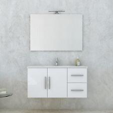 Mobile bagno bianco lucido sistema soft-close completo di specchiera