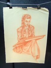 Woman Painting Portrait Orange Pencil Sketch 1950 by C. Schattauer