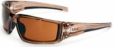 Uvex Hypershock Safety Glasses Brown Frame Espresso Hydroshield Anti-Fog Lens