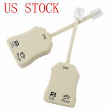2Pcs DSL Filter RJ11 6P4C Male to 2 Female Telephone Splitter Adapter Phone Plug