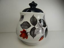 Vintage Midwinter Pottery Jam Jar. Black Leaf Red Rose Pattern.