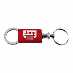 Jeep Grill Key Ring Red Aluminum Valet Keychain