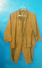 Eileen Fisher Pant Suit Outfit 1X 2pc 2 Piece Brown Linen