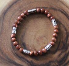 Goldstone Semiprecious Healing Zen Chakra Gemstones Bracelet W/Magnetic Clasp