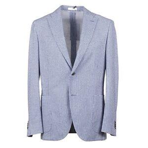 Boglioli Sky Blue-Navy-White Woven Check 'K Jacket' Sport Coat 40R (Eu 50)