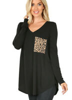 Black Women's Long Sleeve V- Neck With Leopard Print Pocket Sm-3x Tee Shirt Top