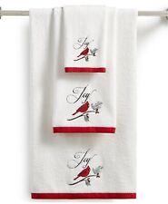 "Martha Stewart Cardinal Embroidered Cotton Bath Towel 25""x50"""