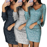 Ladies Long Sleeve V Neck Sequined Bodycon Dress Sexy Tassels Club Mini Dresses