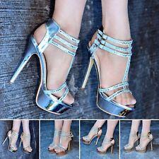 Señoras Diamante Correas Stiletto Sandalias para mujer T Bar Plataforma Zapatos De Tacones Altos