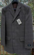Calvin Klein 100% Lambswool Taupe Plaid 3 Button Sport Coat Size 40L