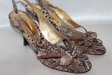 NEW! BEVERLY FELDMAN Brown Snake Nylon & Suede Slingback Peep Toe Heels 7.5 $274