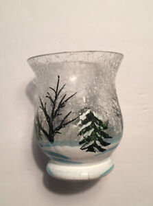Yankee Candle Small Votive Holder Hurricane Forest Winter Used