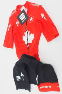New! Sportful Men's Canadian Champion Team Skinsuit Size Extra Small (Red/Black)