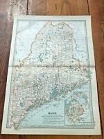 "1903 large colour fold out map titled "" maine  """