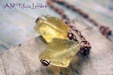 Limón Cuarzo Cristal Colgante Collar de Cobre en   espiritualidad & abundancia Piedra
