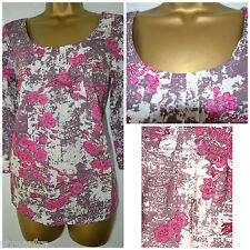 NEW WHITE STUFF LADIES PINK BLOSSOM FLORAL TOP TUNIC BLOUSE SHIRT SUMMER 8 - 18