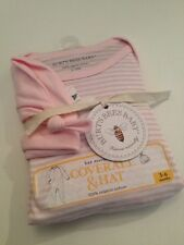 Burts Bees Organic Baby Girl Set Coverall Hat Size 3-6 Months Layette Pink Stri