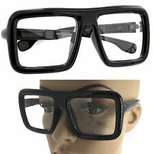 9cf6d96c326 Large Thick Retro Nerd Bold Big Oversized Square Frame Clear Lens Glasses  Black