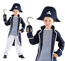 Childrens Pirate Fancy Dress Costume Nelson Captain Hook Outfit Book Week L