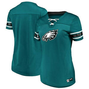 Women's Majestic NFL Green Philadelphia Eagles Lace-Up V-Neck Jersey Shirt NWT