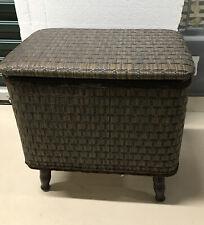 Vintage Redmon Brown Woven Wicker Sewing Basket / Stool on Legs