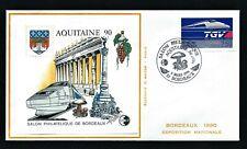 FRANCE AQUITAINE BLOC CNEP 12 ENVELOPPE: 2 Mars 1990 Bordeaux SALON PHILATÉLIQUE