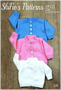 """Knitting Pattern for Babies Round Neck Cardigan Preemie -16"""", 0-3mths -18"""", 3..."""