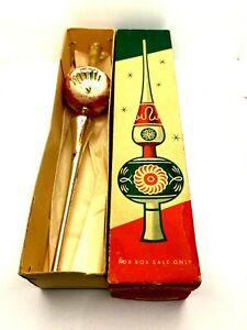 "Vintage Shiny Brite Glass Christmas Tree Topper Western Germany 9 3/4"""