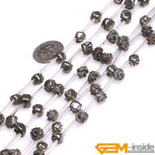 """Natural Silver Gray Pyrite Gemstone Flower Beads For Jewelry Making Strand 15"""""""