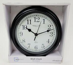 """Mainstays Wall Clock Black Quartz Glass Lens 12 Hour Décor 8.75"""" White Analog"""