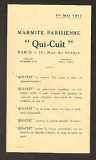 """PARIS (IX°) MARMITE PARISIENNE """"QUI-CUIT"""" TARIFS illustrés en 1917"""