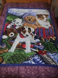 Puppy Design Blanket/Throw. 100% Polyester Fleece, 60x48 Inches, Vibrant Colors