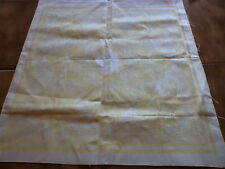 RARE 5 SERVIETTES TABLE DAMASSE DE LIN JAUNE ET BLANC / TOWELS JAMAIS UTILISEES