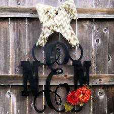 Wooden MONOGRAM door hanger/wreath/Custom Initial/burlap bow/decor/black/pink