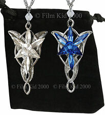 Evenstar Necklace SET BLUE + CLEAR LOTR Lord Of The Rings Hobbit Arwen Pendant